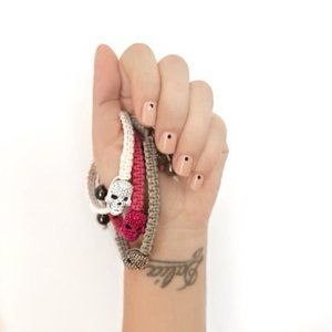 Halloween Skull Adjustable Macrame Bracelet